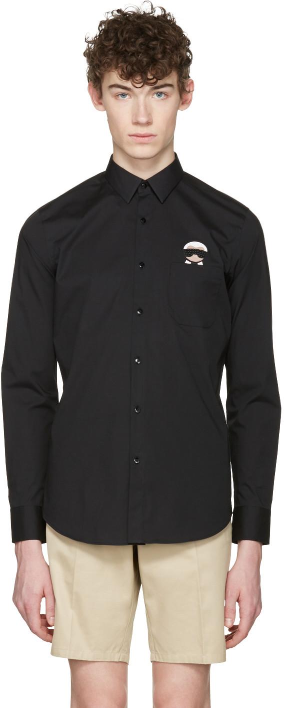 Fendi Black Karlito Pocket Shirt