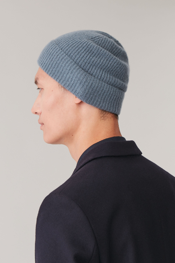 Cos Knitted Cashmere Hat In Blue