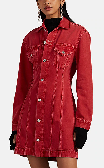 Helmut Lang Femme Trucker Denim Shirtdress In Red