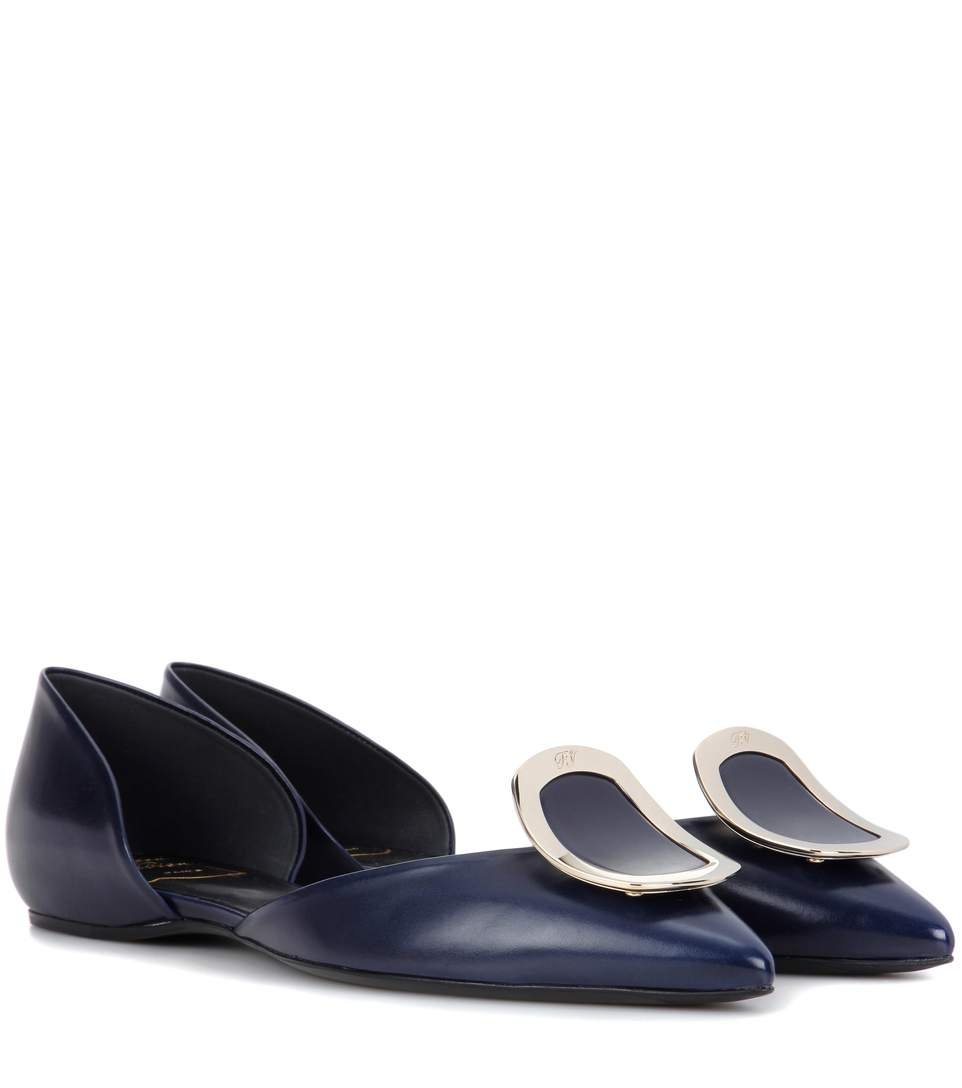 Roger Vivier Flat Chips Leather Ballerinas In Llu Chiaro