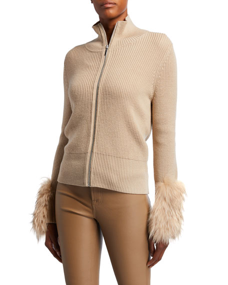 Elie Tahari Norah Zip-Front Wool Sweater With Fur Cuffs In Almond