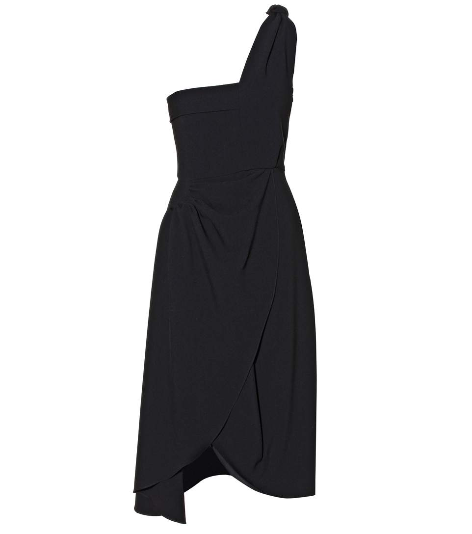 Jw Anderson Woman One-shoulder Draped Crepe Dress Black In Llack