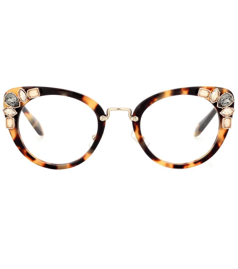 Miu Miu Embellished Cat-eye Glasses In Light Havana/clear