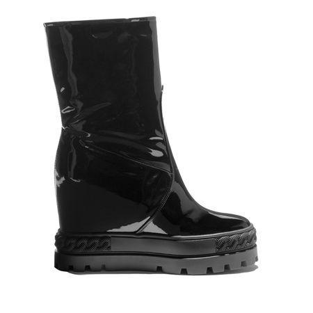 Casadei Varnished Wedge Boots In Black