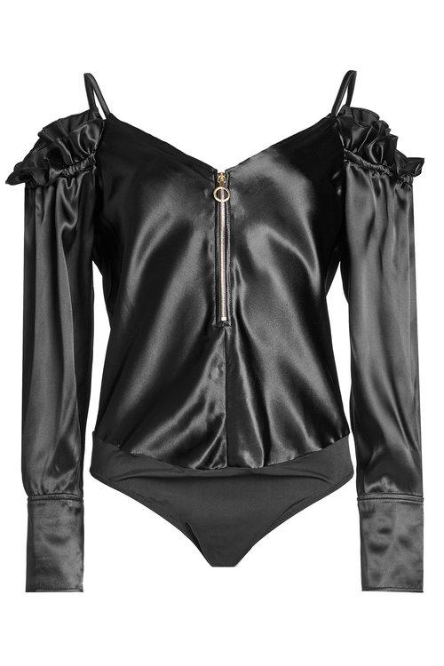 Nina Ricci Satin Body With Silk In Black