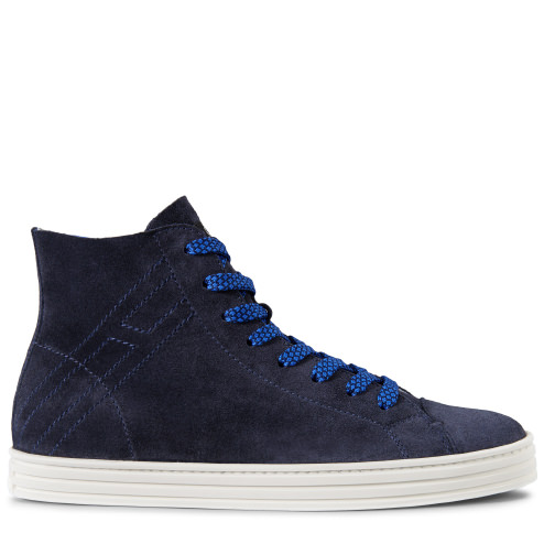 Hogan Rebel Men's Shoes High Top Suede Trainers Sneakers R141 Hi Top In Blue