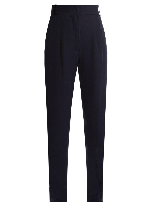 Haider Ackermann Agrippina Satin-trimmed Linen Trousers In Navy