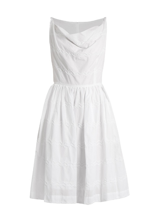 Vivienne Westwood Anglomania Twisted Monroe Zigzag-stitched Skater Dress In White