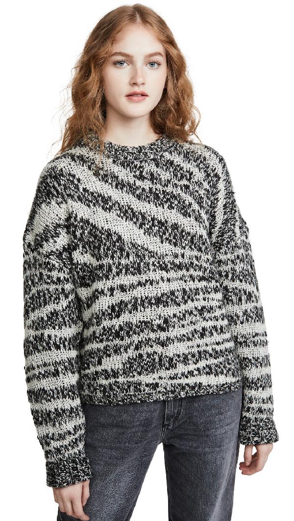 Current Elliott Current/Elliott The Cybill Zebra-Stripe Sweater In Black & Cream