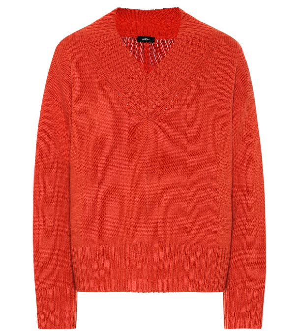 Joseph Long-sleeved Cashmere Wool Jumper In Orange