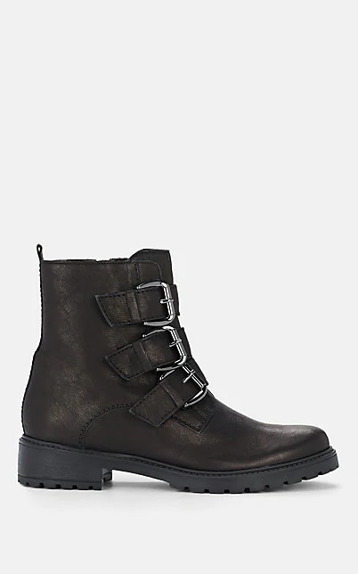 Barneys New York Leather Combat Boots In Black