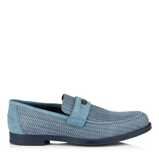 Jimmy Choo Darblay Jean Woven Embossed Suede Penny Loafers In Jeans