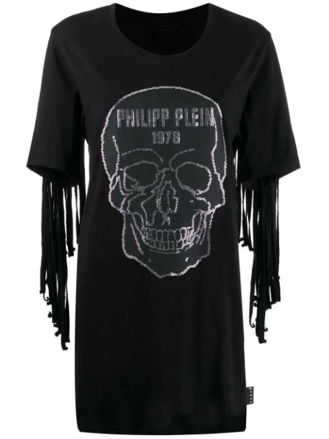 Philipp Plein Fringed Skull Dress In Black