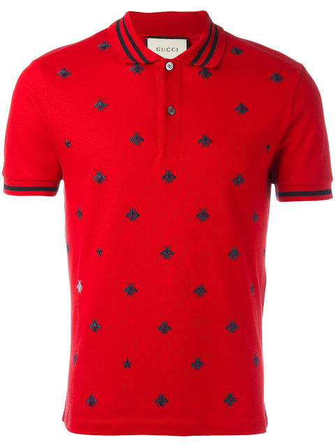 1d4e2beaae8e Gucci Bee-Embroidered PiquÉ Polo Shirt In Postbox-Red | ModeSens