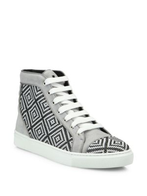 Louis Leeman Crystal Accented Leather Sneakers In Grey