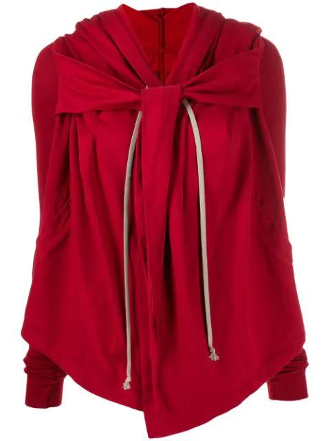 Rick Owens Drkshdw Draped Hooded Sweatshirt In Red