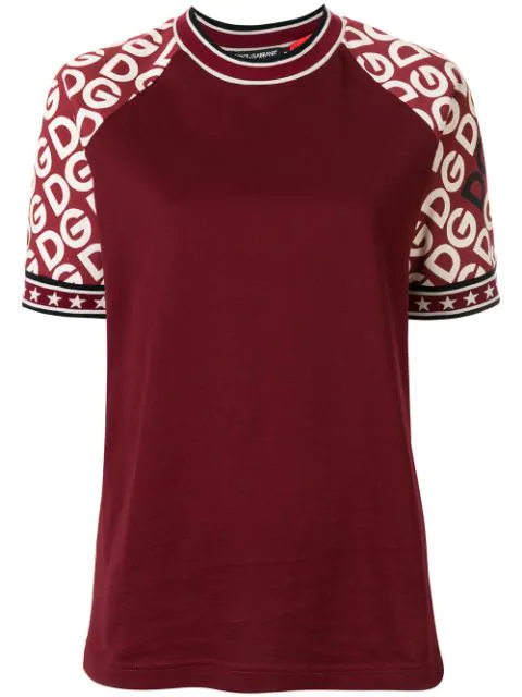 Dolce & Gabbana Short-sleeved Jersey T-shirt With Dg Logo Print In Red