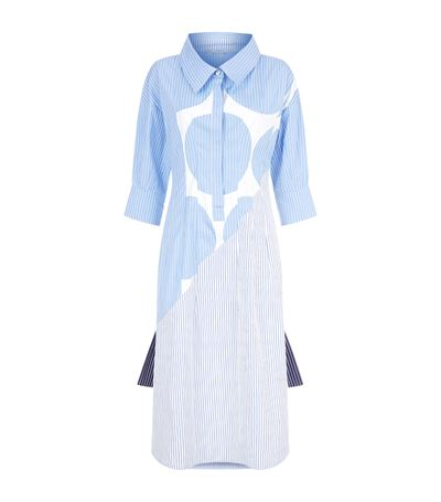 Stella Mccartney Sandrina Circle-print Striped Cotton Shirtdress In Blue