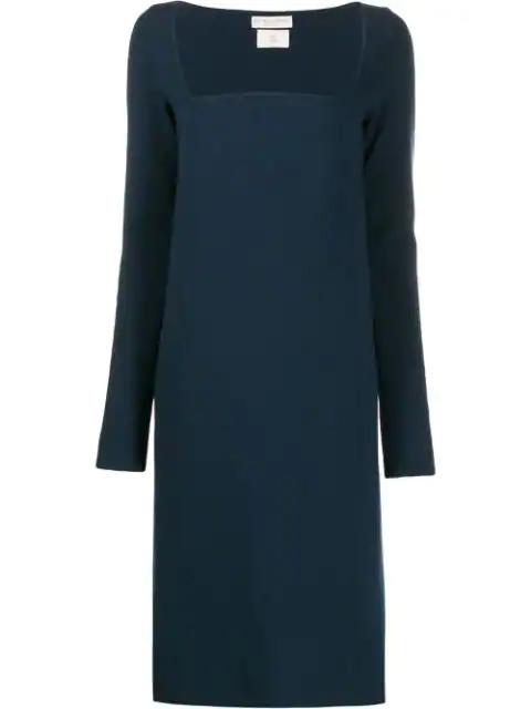 Bottega Veneta Square Neck Shift Dress In Blue