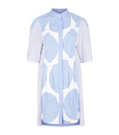 Stella Mccartney Stripe Shirting Short Sleeve Dress In Blue, Stripes.