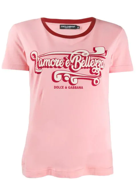 Dolce & Gabbana Jersey T-shirt With Print In Pink
