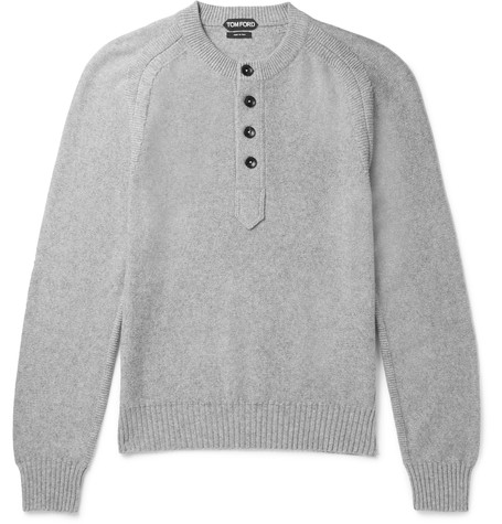 Tom Ford Cotton, Cashmere And Cotton-blend Henley Sweater In Gray