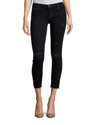 J Brand Skinny-fit Low-rise Cropped Jeans In Indigo