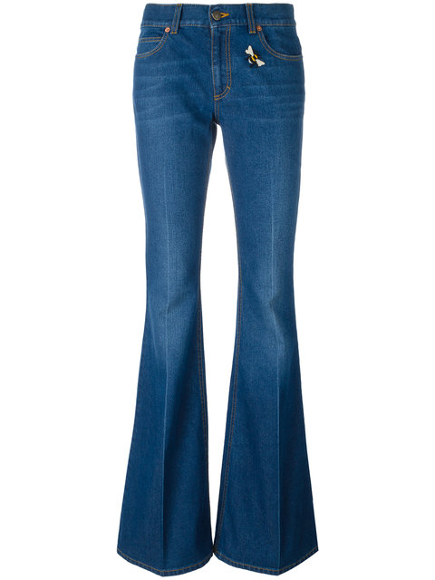 Gucci Embroidered Flared Denim Jeans In Blue