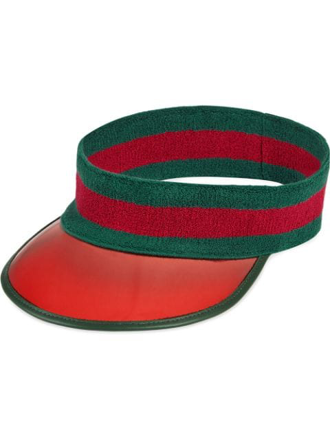 Gucci Striped Vinyl And Stretch-Cotton Visor In 3174 Rosso