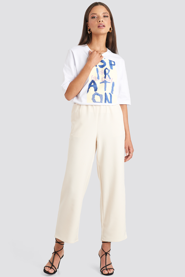 Emilie Briting X Na-kd Elastic Waistseam Cropped Pants - White In Off White