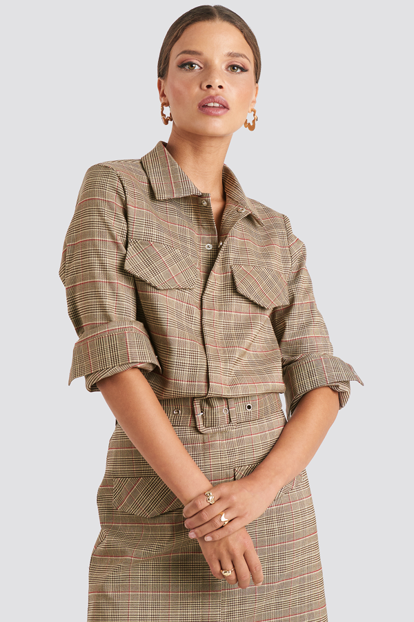 Emilie Briting X Na-kd Checked Pocket Shirt Brown In Checkered