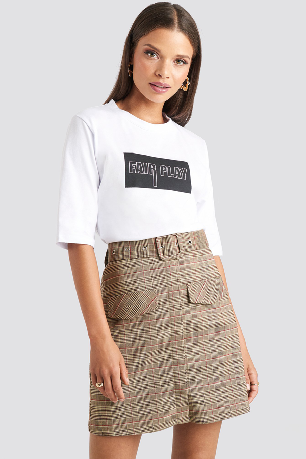Emilie Briting X Na-kd Front Pocket Checked Skirt Brown In Checkered