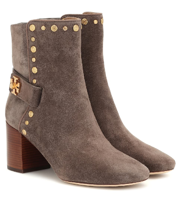 Tory Burch Kira Studded Suede Ankle Boots In Neutrals