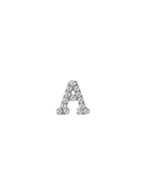 Meira T Women's 14k White Gold Diamond Intial Single Stud Earring In Intial A