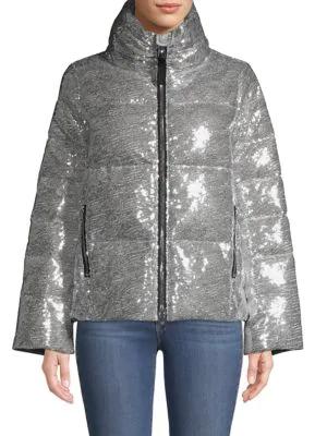 Nicole Benisti Kensington Sparkle Metallic Down Puffer In Silver
