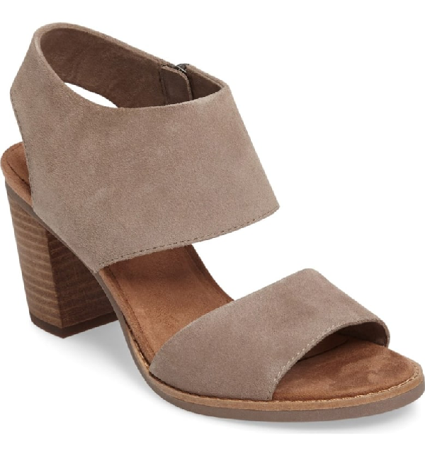 Toms Women's Majorca Suede Cutout Block Heel Sandals In Natural