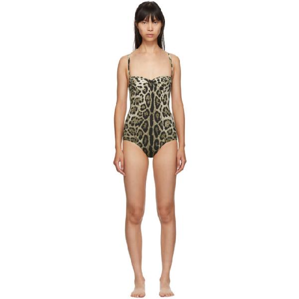 Dolce & Gabbana Dolce And Gabbana Tan Leopard One-piece Swimsuit
