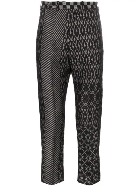 Haider Ackermann Grey Men's Cropped Jacquard Trousers In Bow Grey