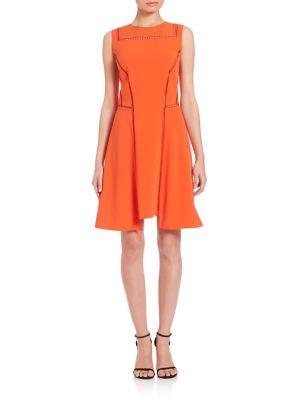 Public School 'lindamac' Stitch Detail Dress In Fire Orange