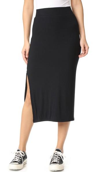 Atm Anthony Thomas Melillo Ribbed Stretch-micro Modal Midi Skirt In 黑色