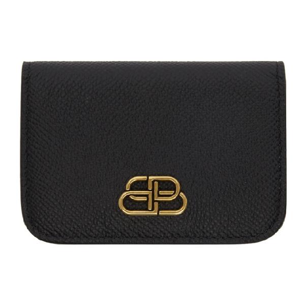Balenciaga Bb Logo Grained-Leather Folded Cardholder In 1000 Black