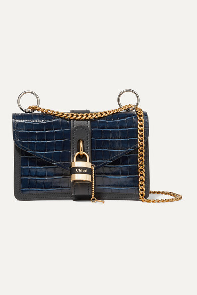 ChloÉ Aby Mini Crocodile-Embossed Leather Shoulder Bag In Navy
