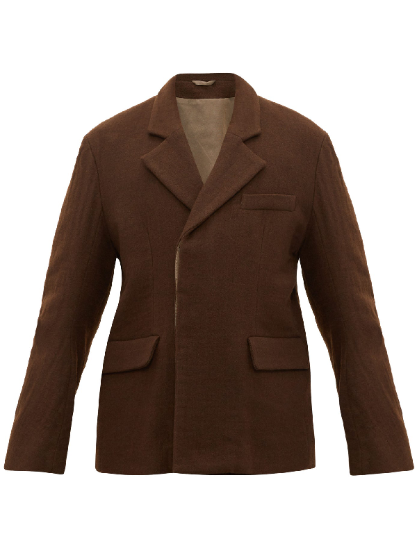 Ann Demeulemeester Single-breasted Cotton-blend Felt Jacket In Brown