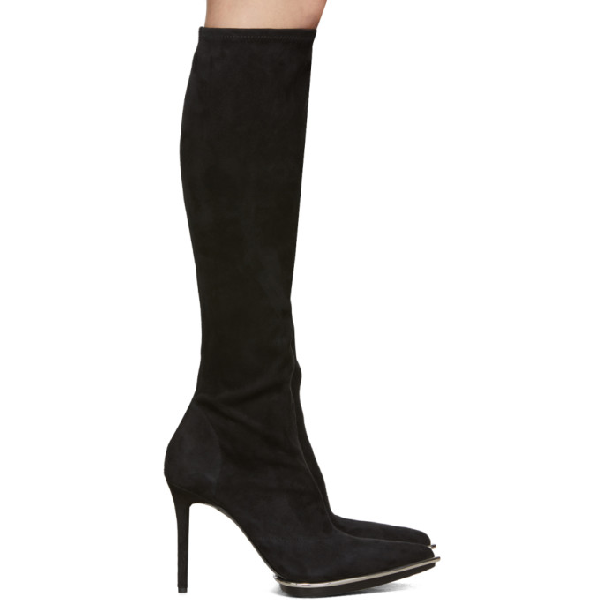 Alexander Wang Cara Suede Point Toe Knee-High Boots In Black