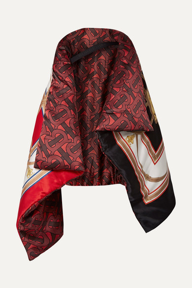 Burberry Monogram Archive Print Oversized Silk Satin Puffer Cape In Red