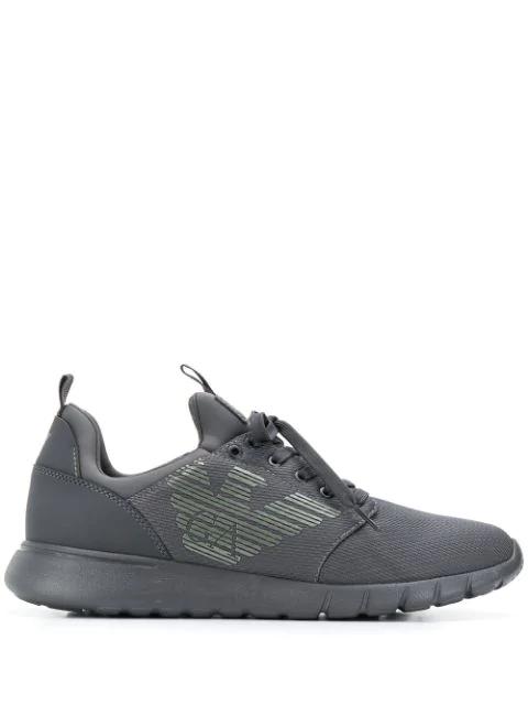 Ea7 Emporio Armani Low Top Lace Up Sneakers In Grey