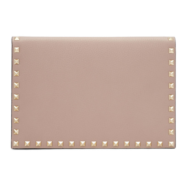 Valentino Garavani Valentino Pink  Medium Rockstud Wallet In P45 Poudre