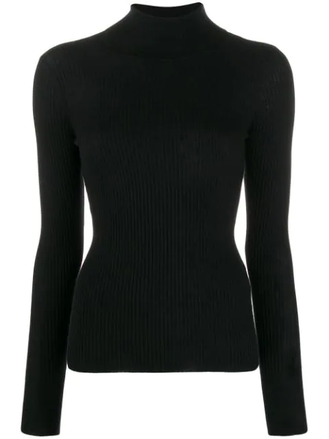 Snobby Sheep Ribbed Knit Sweater In Black