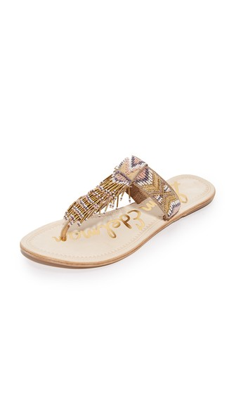 Sam Edelman Anella Leather Beaded Flat Thong Sandal, Natural In НАТУРАЛЬНЫЙ МУЛЬТИ
