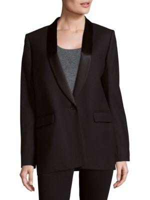 Maje Loose Wool-blend Suit Jacket In Navy